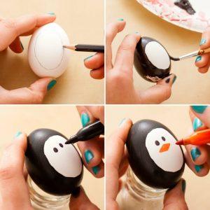 Uova decorate a pinguino